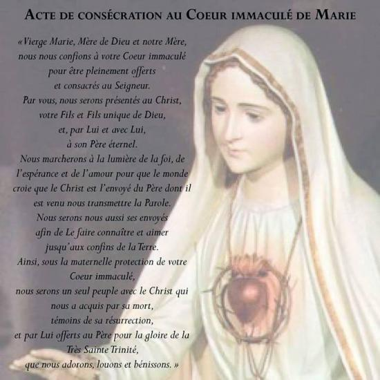 Acte de Consécration au Coeur Immaculé de Marie