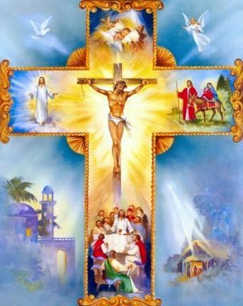 Croix de Jésus animée de belles couleurs