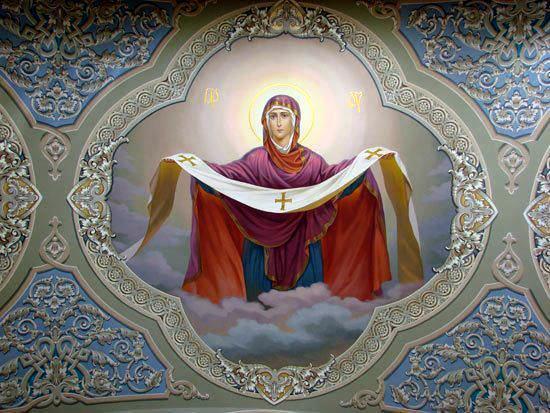 Fresque icône de la Sainte Vierge Marie