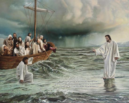 Fond d'écran Jésus marchant sur l'eau