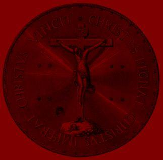 Bouclier Christus Vincit, Christus Regnat, Christus Imperat colorisé
