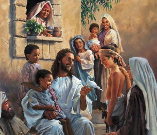 Fond d'écran Jésus avec les enfants