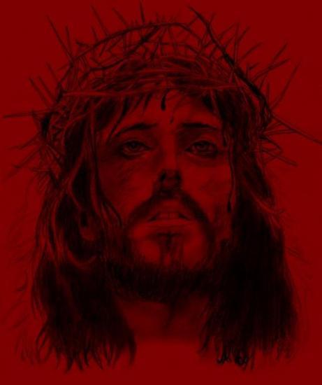 Dessin colorisé de Jésus avec la Couronne d'épines