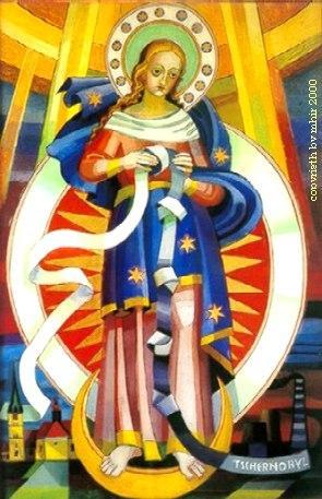 Marie qui défait les noeuds dans la chapelle de Tregist