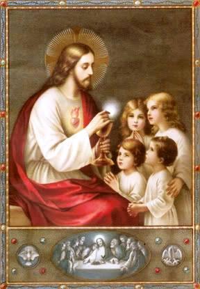 Image pieuse Jésus Eucharistie et enfants