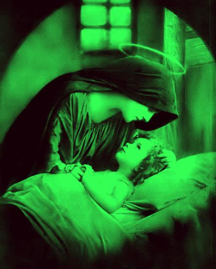 Bichrome vert et noir de Marie et l'Enfant-Jésus