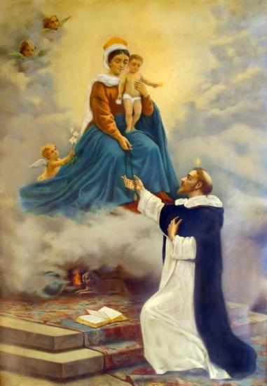 Notre-Dame donne le Rosaire à Saint-Dominique