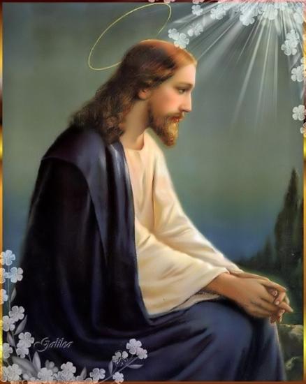 Peinture de Jésus auréolé avec rayons et fleurs