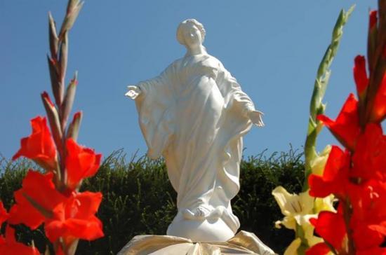 Vierge du Sourire fleurie