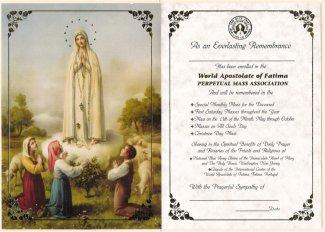 Mass Card, Fatima Shrine, Washington, NJ
