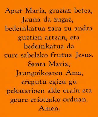 Je Vous salue Marie en basque/Ave Maria Euskera