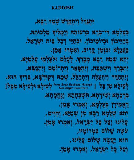 Kaddish en hébreu