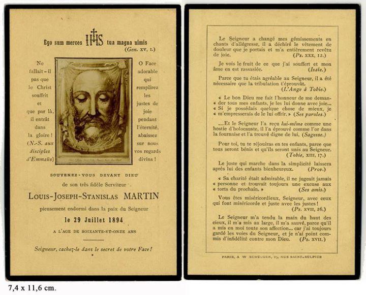 Image pieuse mortuaire de Louis Martin, mort le 29 juillet 1894
