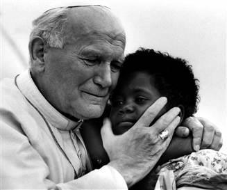 Jean-Paul II avec enfant,parousie.over-blog.fr