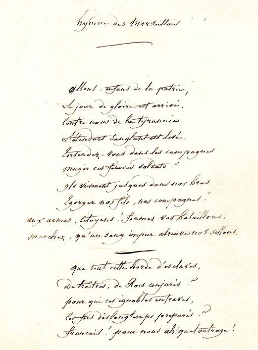 Manuscrit original Marseillaise, Rouget de Lisle