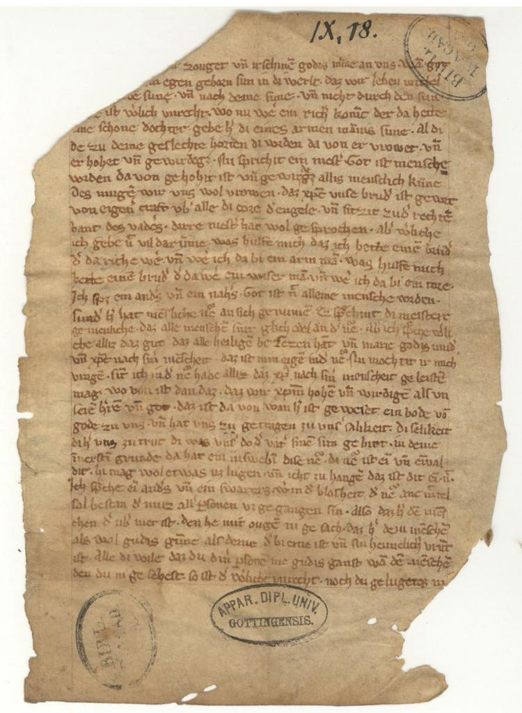 Fragment du manuscrit d'un sermon de Maître Eckhart