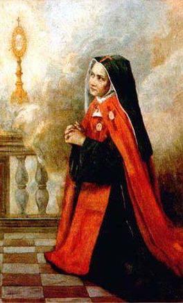 Peinture d'une Soeur priant à genoux devant le Saint Sacrement