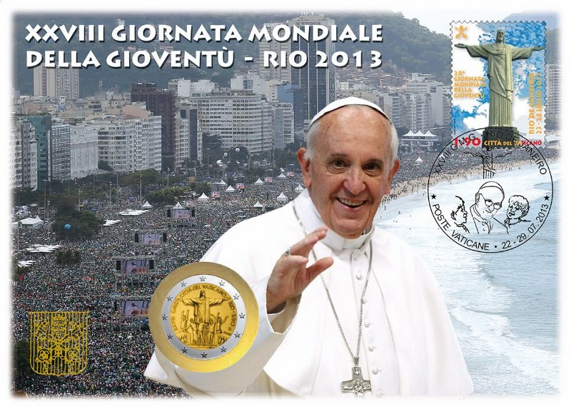 Timbre et pièce commémoratifs, JMJ Rio 2013